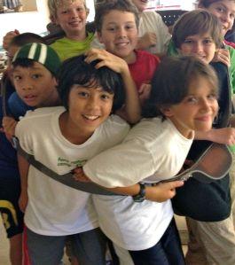happy kids in an elephant collar